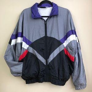 VTG Windbreaker Jacket Sz Large 90s Multicolor EUC